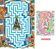 Christmas in the forest. Help animals to find a correct way to reach the Christmas tree. Labyrinth for kids Royalty Free Stock Image