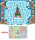 Christmas in the forest. Help animals to find a correct way to reach the Christmas tree. Labyrinth for kids (landscape Stock Image