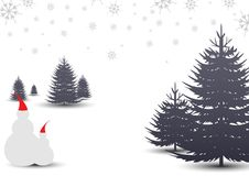 Christmas forest landscape design with snow. Vector background design illustration for greetings Stock Images