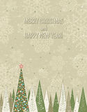 Christmas Forest Over Grunge Background, Vector Stock Image