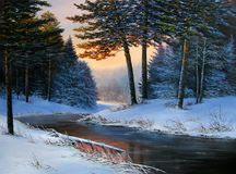 Christmas forest with river. Winter landscape with the river.Original  oil painting Stock Photos