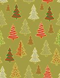 Christmas forest - seamless pattern. Seamless pattern with styled christmas trees Stock Images