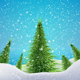 Christmas Forest with snowfall and drifts. Vector. Illustration concept for your artwork, posters, flyers, greeting cards Royalty Free Stock Image