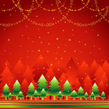 Christmas forest,vector. Golden christmas tree in the red forest,vector illustration Royalty Free Stock Photography