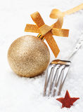 Christmas fork and bauble Stock Image