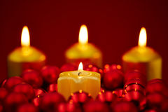 Christmas with four burning candles Royalty Free Stock Photos