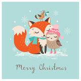Christmas fox and owl royalty free stock image
