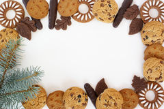 Christmas frame. Cookies and Christmas tree wing Christmas frame Stock Photos