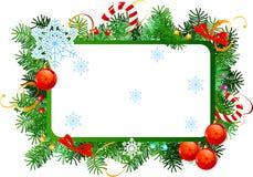 Christmas frame. Christmas  vector frame with red Christmas balls Stock Photos