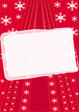 Christmas Frame. On red background with snowflakes Stock Photos
