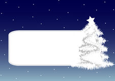 Christmas frame. With white christmas tree on blue background Stock Image