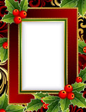 Christmas frame. Vector illustration -Christmas frame with holly royalty free illustration