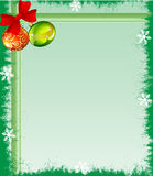 Christmas Frame. With ornaments balls and ribbon Stock Photos