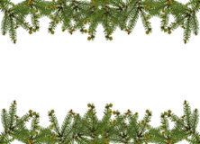 Christmas frame. Frame of pine branches over white Royalty Free Stock Photography