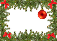 Christmas frame. Frame of pine branches and christmas ornament Royalty Free Stock Photos