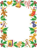 Christmas frame. Decorative frame with sweets and other symbols of Christmas Stock Images