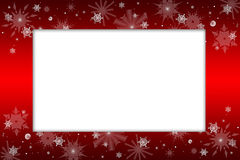 Christmas frame. An empty frame with red borders with christmas ornaments such as stars and snow flakes Royalty Free Stock Image