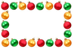 Christmas frame. Made from colorful christmas balls Royalty Free Stock Photo