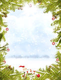 Christmas frame. Pine branches with christmas snowflak ornaments on a subtle snowy background.  A small crafted santa or elf is at the bottom of the image with a Royalty Free Stock Images