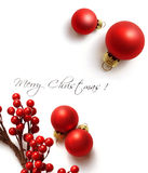Christmas frame. For greeting card with decorative red ornaments. white background stock images