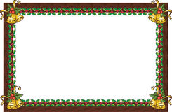 Christmas frame. Wood frame with christmas ornament vector illustration