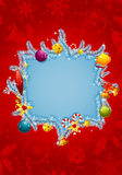 Christmas frame. With branch fir, element for design,  illustration Stock Images