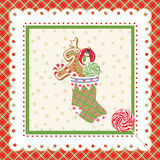Christmas frame. With stocking. Vector illustration Stock Images