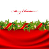 Christmas frame. With green fir and holiday decoration Royalty Free Stock Photography