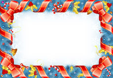 Christmas Frame. With Candy, Fir Branches, Ribbon, Mistletoe, element for design, vector illustration Stock Photography