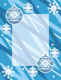 Christmas frame. Decorative frame with christmas balls and snowflakes Stock Illustration