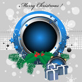 Christmas frame. Abstract colorful illustration with rounded blue Christmas frame, mistletoe, fir branches and blue present boxes Stock Images