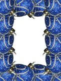 Christmas frame. Made of blue shining balls ornaments Stock Image
