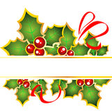 Christmas frame. With red curves and Holly Berry Royalty Free Stock Image