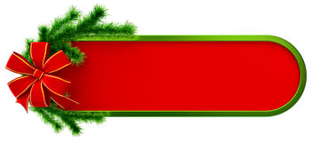 Christmas frame. Green christmas frame with decorative plastic green fir branch and red bow Royalty Free Stock Photo
