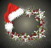 Christmas frame. With Santa Claus cap Royalty Free Stock Photos
