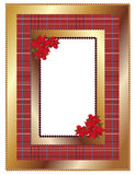 Christmas frame. Golden Christmas frame with a plaid background and pointsettia Stock Images