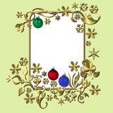 Christmas frame. An illustrated design of a golden Christmas frame with colorful baubles Royalty Free Stock Photo