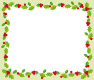 Christmas frame. Illustration of christmas frame with holly on green background Stock Image