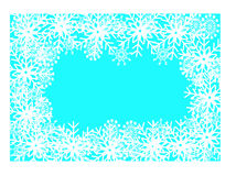 Christmas frame. Blue background with snowflake arround Royalty Free Stock Photo