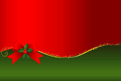 Christmas frame. With ribbon and green sprays Royalty Free Stock Image