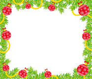 Christmas frame. Illustration of christmas frame made of fir branch and christmas decorations