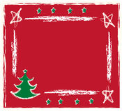 Christmas frame. Retro  christmas tree with red background Stock Photo