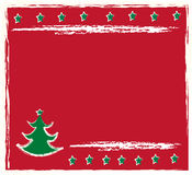 Christmas frame. Retro  christmas tree with red background Royalty Free Stock Photo