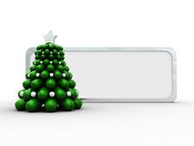 Christmas frame. 3d illustration of silver frame with christmas tree Royalty Free Stock Photo