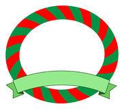 Christmas frame. With green ribbon Royalty Free Stock Images