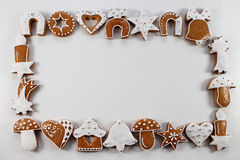 Christmas frame background of gingerbreads Stock Image