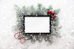 Christmas frame background with xmas tree and xmas decorations. Merry christmas greeting card, banner. Winter holiday theme. Happy New Year. Space for text stock photo