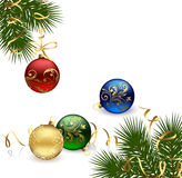 Christmas frame with balls Royalty Free Stock Photo