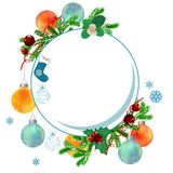 Christmas frame with balls and fir branches. Christmas frame with balls, snowflakes and fir branches Royalty Free Stock Image