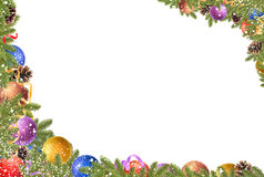 Christmas frame. Christmas balls, pine cones, fir branches and snowflakes on a white background stock images